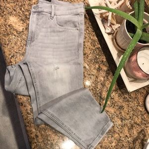 Express Highrise grey distressed ankle leggins 8
